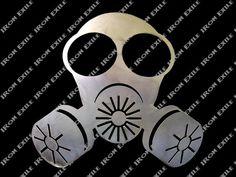 Masque à gaz mur métal Art signe Zombie Apocalypse par IronExile