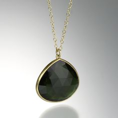 """@QUADRUM - LOLA BROOKS - An 18k yellow gold 18"""" chain with a pear shaped rose cut 13.31ct green tourmaline pendant, bezel set and backed in gold.  Pendant measures 3/4"""" x 1""""."""