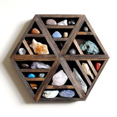 Hexagon Shelf with Crystal and Stone Set
