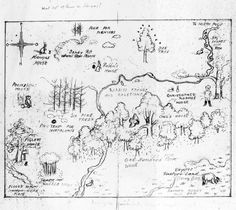 """Shepard, E.H. Preparatory sketch-map for endpapers of Winnie-the-Pooh    """"Shepard poses the question 'What sort of House is Kangas?' at the top of the map. -Southeby's London, 17 December 2008"""