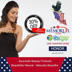 "Don't miss out on our Memorial Day Sale!! We have great All Natural Beauty Products deals going on ...!!!!!! Save 30% OFF on All #Ayurvedic #Beauty Cosmetics from @GoAyur. Use Coupon Code ""HONOR"" .  Shop NOW Only @  https://goayur.com #LinkInBio  Wishing everyone a Wonderful Memorial Day..!!!!!! #memorialdaysale #memorialdayweekend #memorialday #memorialdayoffer #happymemorialday #dontmissout #giveaway #MemorialDay2016 ‪#Herbalskincare #glowingskin #antiaging #ShopNow #BeautifulSkin"