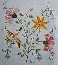 os bordados de castelo branco Crewel Embroidery, Embroidery Patterns, Bordado Floral, Brazilian Embroidery, Bargello, Silk Ribbon, Cross Stitching, Crochet Stitches, Needlework