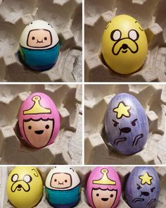 I love making themed Easter eggs (I don't use dye anymore, I just Sharpie 'em) and this year it's my favorite show, ADVENTURE TIME! Finn, Ja...