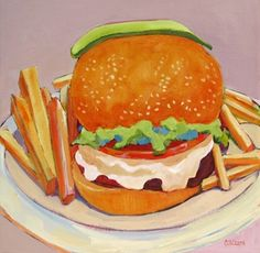 Daily Painting, Simple Food Done Right, contemporary painting of a burger & fries, painting by artist Carolee Clark Food N, Food And Drink, Food Carving, Burger And Fries, Food Painting, Good Enough To Eat, Food Illustrations, Salmon Burgers, Real Food Recipes