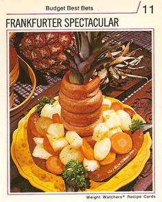 Frankfurter Spectacular. | Yes, this really is a mixture of frankfurters, pineapple, onion and carrot. To give the dish a particularly jaunty air, you're encouraged to staple the frankfurters onto the pineapple core before serving.This Is What Diet Recipes Were Like In The 1970s