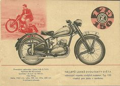 CZ 125 and 150 motorcycles 1953 brochure