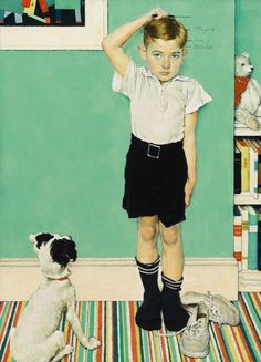 """Norman Rockwell, """"He's Going to be Taller than Dad,"""" advertising illustration, Upjohn Company, 1939."""