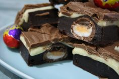 Cadburys Creme Egg Brownies.....for real??? I just got fatter looking at these.