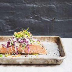 Black Pepper Lime Baked Wild Salmon Topped with A Crispy Slaw   What's Cookin' Good Looking. Find this #recipe and more on our Salmon Feed at https://feedfeed.info/salmon?img=1244505 #feedfeed