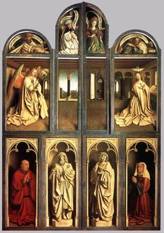 Jan van Eyck: The Ghent Altarpiece (Closed) (1432) Flemish.     One of my absolute favorite pieces!!