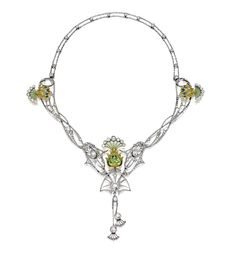Art Nouveau plique-´å-jour enamel, péridot and diamond necklace, circa 1900. Centring on a pear-shaped peridot weighing approximately 2.20 carats, amid an openwork frame, decorated by plique-à-jour enamel, rose- and old-cut diamonds, completed by a double link-chain spectacle-set with rose-cut diamonds, the diamonds together weighing approximately 4.00 carat,mounted in 18 karat white and yellow gold, length approximately 365mm, pendant detachable