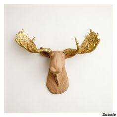 Gold Glitter Antlers on Tan Faux Moose Head