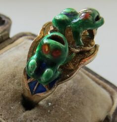 Great silver gilt and enameled Chinese export ring with a fun frog motif - super cute!
