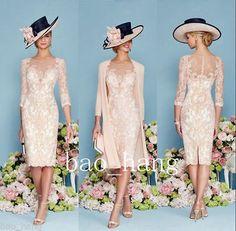 Luxo Bordado Rosa DE RENDA Mãe Da Noiva Casaco Jaqueta Vestido Chiffon comprimento no joelho -