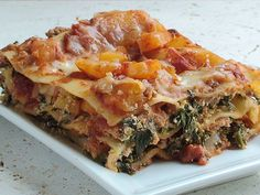 Easy Healthy Lasagna with ground turkey, butternut squash, and spinach (really good! I used 12 noodles instead of 9 and used an 9 x 13 pan instead of a 9 x 9.  easily got 8 servings; I just upped the amount of tomato sauce to an entire jar.)