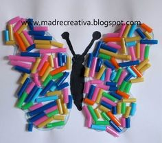 collage with color straws Summer Crafts, Diy And Crafts, Crafts For Kids, Arts And Crafts, Butterfly Crafts, Butterfly Art, Toddler Activities, Activities For Kids, Straw Crafts