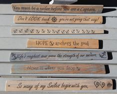 Nautical Signs on Wood Nautical Wood Decor Signs Mini Wood Signs Inspirational Sayings Nautical Sayings Ocean Decor Signs Anchor Signs Nautical Names, Nautical Quotes, Nautical Signs, Wood Pallet Signs, Wood Pallets, Wood Signs, Beach House Signs, Beach Signs, Cottage Signs