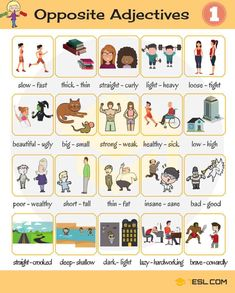 List of Opposite Adjectives in English - ESL Buzz