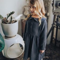 Girls shirt dress in charcoal double gause - sizes toddler to tweens.  Minouche. Image by Elle Rampling Photography