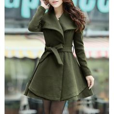 Sophisticated Turn-Down Collar Belt Embellished Pelpum Top Long Sleeves Slimming Women's Overcoat, ARMY GREEN, 2XL in Jackets & Coats | Dres...