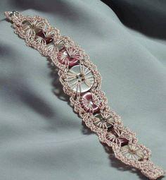 Button bracelet by iceice on Etsy. Very original button bracelet with fine crochet Fabric Jewelry, Beaded Jewelry, Handmade Jewelry, Metal Jewelry, Love Crochet, Knit Crochet, Thread Crochet, Button Bracelet, Wrap Bracelets