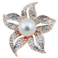 da9c49ac9 Women White Flower Camellia Shell Crystal Pearl Clothes Shawl Brooch Pin  Gift | eBay