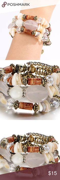 Beautiful Layered Bracelet Boho Festival Chic Boho Multilayer Stone Bracelet & Bangles Vintage Long Cuff Bracelets Fashion Ethnic Jewelry lovers Earrings necklaces earrings rings all in my closet! Great business casual work attire daily wear acrylic and stone material. NEW 18170 Jewelry Bracelets