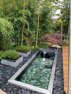 Garden design patio , gartengestaltung terrasse , patio d… Design Patio, Modern Garden Design, Landscape Design, Modern Pond, Modern Japanese Garden, Japanese Garden Landscape, Modern Courtyard, Zen Design, Bamboo Design