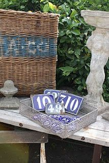 Old basket and house numbers