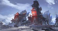 Snow Village, Gao ZhingPing on ArtStation at http://www.artstation.com/artwork/snow-village-961ff3ee-2947-4a50-ae4f-73b9c5fc70f7