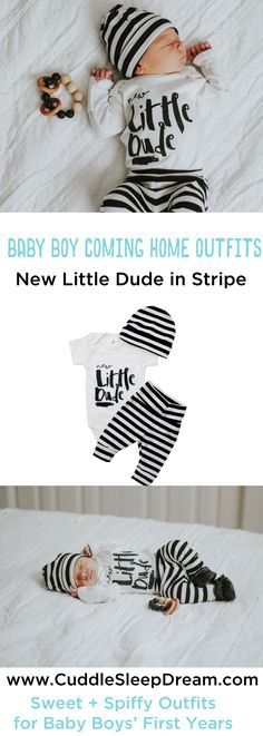 Baby Boy Coming Home Outfit - New Little Dude Onesie w/ Monochrome Black & White Stripe Leggings