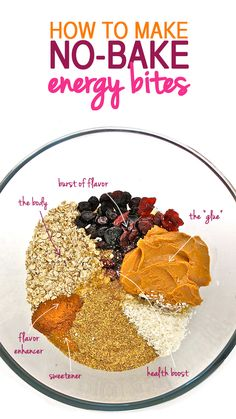 How to make healthy no-bake energy bites from virtually anything. This is a terrific guideline to make your own! Or search No Bake Energy Bites, there's hundreds! Healthy Sweets, Healthy Baking, Healthy Snacks, No Bake Energy Bites, Energy Bars, Protein Bites, Healthy Energy Bites, Snack Recipes, Cooking Recipes