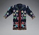 Faw Faw, a religious movement named after its founder William Faw Faw (Waw-no-she), an Otoe-Missouria prophet, advocated a return to traditional Native ways. Images from Faw Faw's visionary experience inspired the beaded and interconnected horses, human figures, buffalo skulls, and cedar trees depicted on this coat