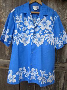 7969dab8 70s Blue Hawaiian Shirt by Royal Creations, Men's L // Vintage Tropical  Aloha Hawaii Shirt // Camp Shirt
