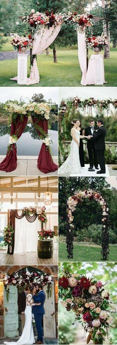 Refined Burgundy and Marsala Wedding Color Ideas for Fall Brides burgundy, maroon and marsala wedding arch and altar ideas: for my friends with weddings coming!burgundy, maroon and marsala wedding arch and altar ideas: for my friends with weddings coming! Wedding Centerpieces, Wedding Decorations, Church Decorations, Perfect Wedding, Dream Wedding, Wedding Ceremony Arch, Outdoor Ceremony, Ceremony Backdrop, Wedding Arch Flowers