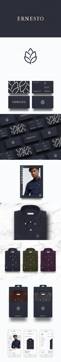 Ernesto – Fivestar Branding Agency - Ernesto men's fashion brand by Thomas Adnet Web Design, Fashion Logo Design, Design Blog, Graphic Design Inspiration, Portfolio Design, Design Art, Design Ideas, Corporate Design, Brand Identity Design