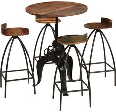 Vintage Industrial Bar Table with 4 Stools Set Solid Mango Wood Kitchen Breakfast Bistro Cafe Pub Dining Furniture Sets, Cafe Furniture, Luxury Furniture, Kitchen Furniture, Bar Chairs, Table And Chairs, Console Style, Dining Set, Dining Table