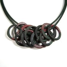 One of a Kind Necklace of Hand Made Ceramic Clay Rings Accented with Multiple Terra Sigillata Colors 0n Double Latigo Leather Cord