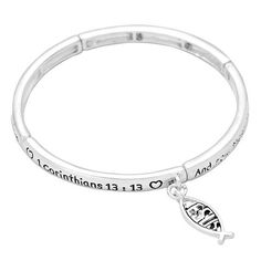 """- Beautiful religious bracelet features a bible verse inscription and Ichthys charm - Inscription is First Corinthians 13:13 """"And now these three remain: faith, hope and love. But the greatest of thes"""