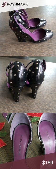 MARC JACOBS Black leather studded Heels Brand new heels from Marc Jacobs. Black with silver studs all over. Purple color on inside of shoes. Marc Jacobs Shoes Heels