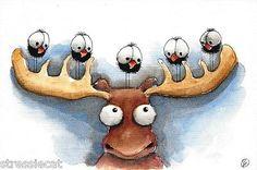 Original Watercolor Painting Art Illustration Whimsical Moose Bird Crow | eBay