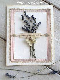Card con lavanda e farfalla di carta.Biglietto handmade.