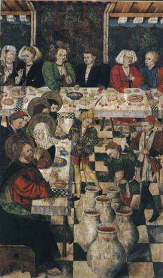 Ejea de los Caballeros (Zaragoza). Iglesia de San Salvador. Retablo Mayor de San Salvador. Bodas de Caná. Blasco de Grañén y Martín de Soria (1438-1476). Pintura al temple sobre tabla.
