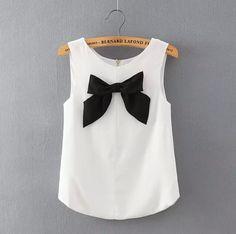 Summer Contrast Color Bow Chiffon Vest Shirt