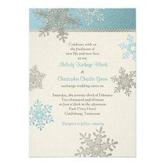 Silver Blue Snowflake Winter Wedding Invitation