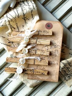 White Ribbon Stamped Clothespins