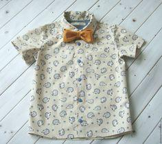 """Купить Рубашка для мальчика """"Ежики"""" - бежевый, рисунок, рубашка для мальчика, рубашка, рубашка из хлопка, для мальчика"""