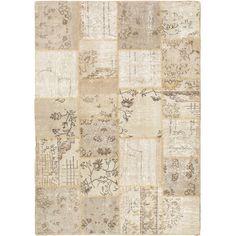 eCarpetGallery Ottoman Yama Patchwork Ivory Handmade Wool Rug