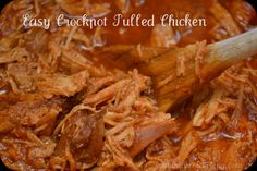"""Easy Crockpot Pulled Chicken - great on rolls or pita bread.  OMG, I make this and it's SUPER AWESOME!  Google """"healthy pulled chicken recipe"""" and ENJOY! :-)"""