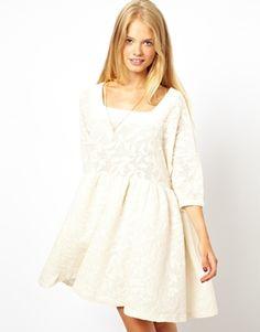 ASOS Smock Dress In Leaf Jacquard